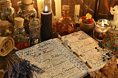 Occult, esoteric, divination and wicca concept. Vintage background