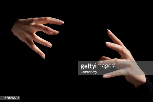 Magic Fingers; Two Intense Hands Hold Nothing Inbetween, Black Background