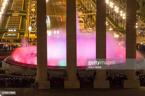 Magic Fountain in Barcelona at night with colors.