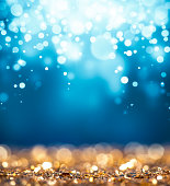 Magic gold and blue glitter
