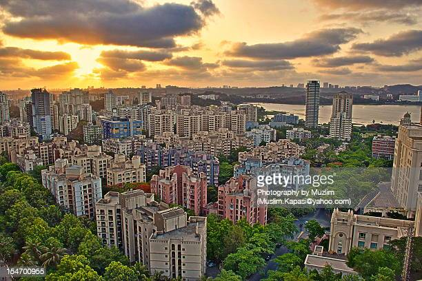 Magic hour, urban landscape in Mumbai
