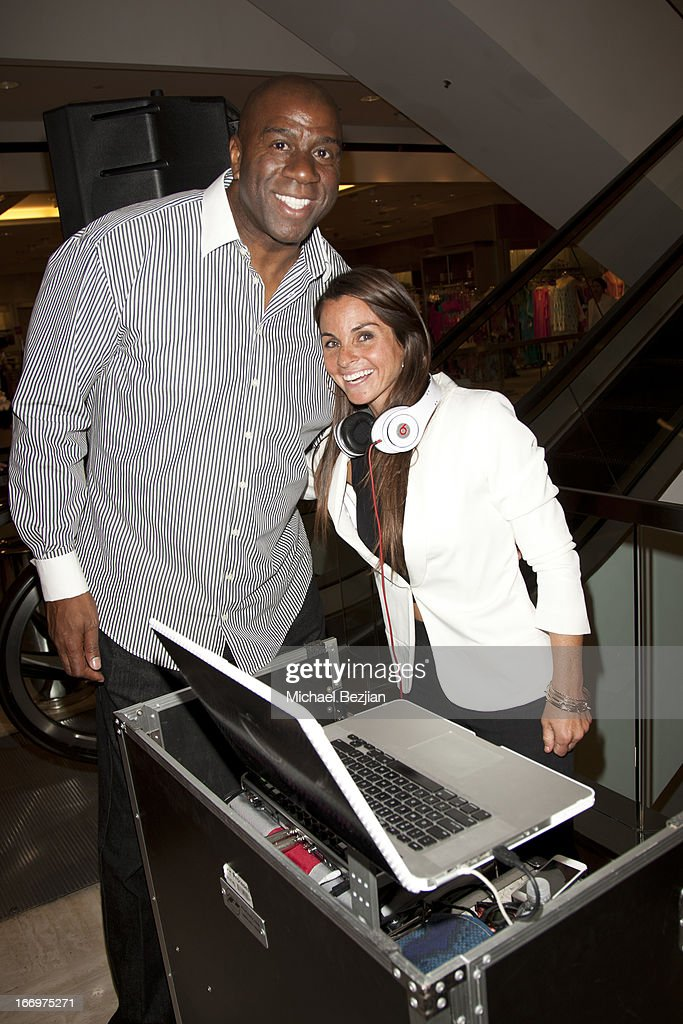 <a gi-track='captionPersonalityLinkClicked' href=/galleries/search?phrase=Magic+Johnson&family=editorial&specificpeople=157511 ng-click='$event.stopPropagation()'>Magic Johnson</a> and DJ Casey Connor attend Cookie Johnson And Neiman Marcus Host Girls Night Out on April 18, 2013 in Beverly Hills, California.