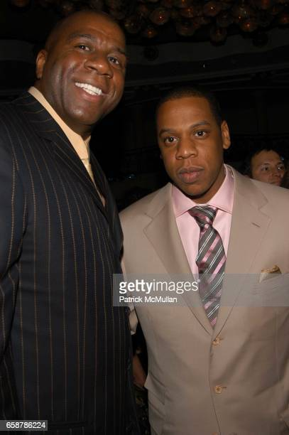 Magic Johnson and JayZ attend Clive Davis preGrammy Awards party at Beverly Hills Hotel on February 7 2004 in Los Angeles CA