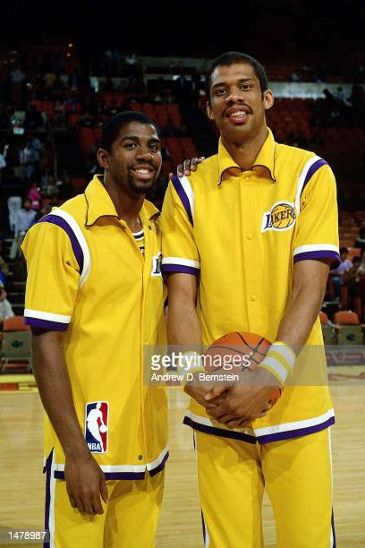 Magic Johnson and Kareem Abdul Jabbar of the Los Angeles Lakers pose for a photo prior to playing a game at the Forum in Los Angeles California NOTE...