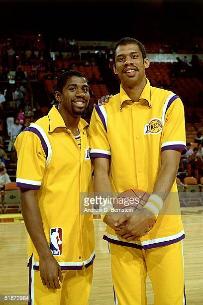 Magic Johnson and Kareem Abdul Jabbar of the Los Angeles Lakers pose for a photo prior an NBA game at the Forum in Los Angeles California NOTE TO...