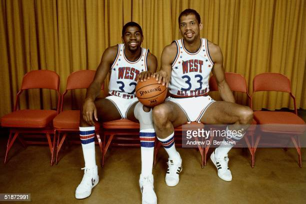 Magic Johnson and Kareem AbdulJabbar of the Western Conference AllStars pose for a portrait prior to the 1984 NBA AllStar Game on January 29 1984 in...