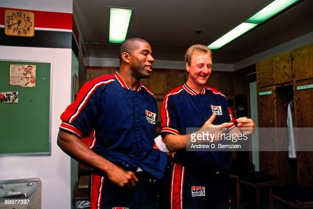 Magic Johnson and Larry Bird prepares for a game during the Basketball Tournament of Americas at The Rose Garden in 1992 in Portland Oregon NOTE TO...
