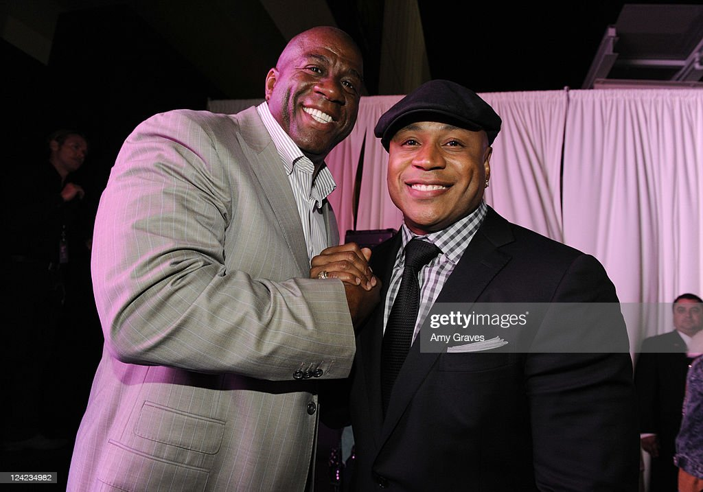 Magic Johnson and LL Cool J attend Fashion's Night Out celebration at Westfield Century City on September 8, 2011 in Los Angeles, California.