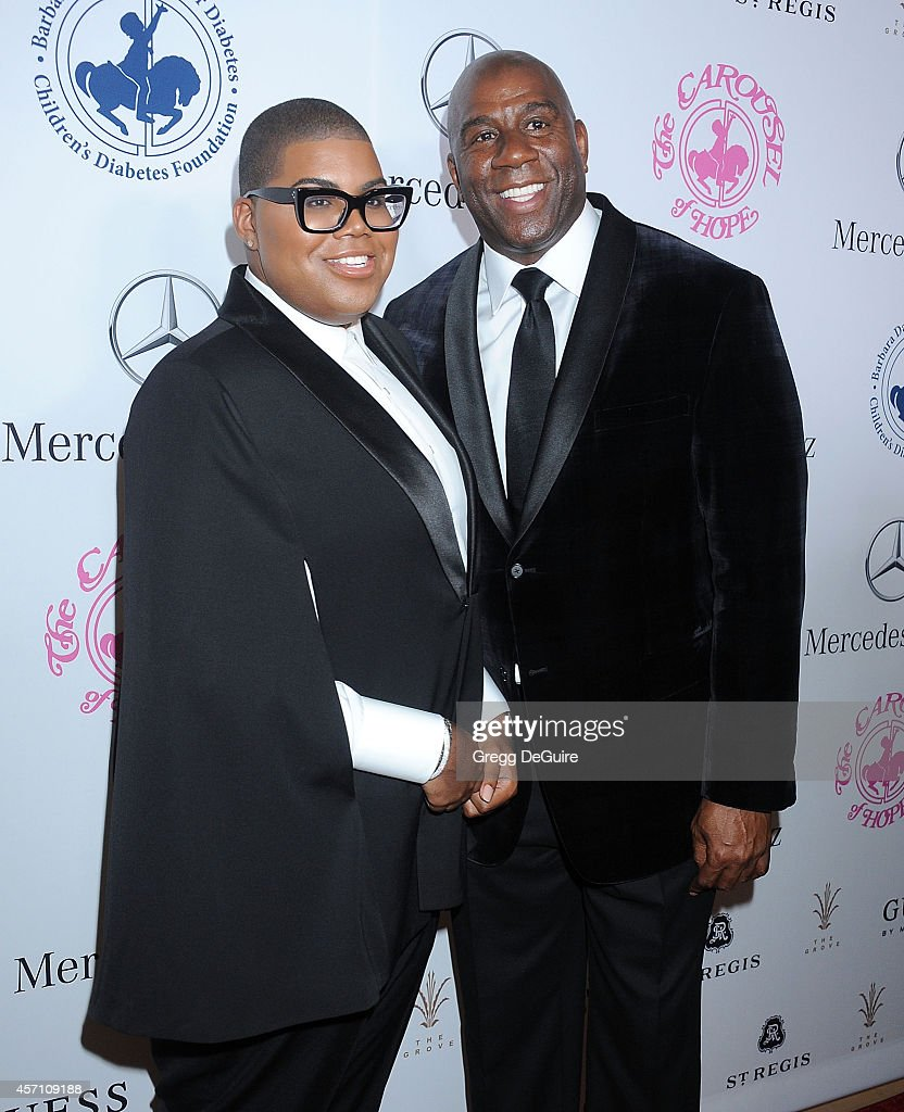 Magic Johnson and son EJ Johnson arrive at the 2014 Carousel Of Hope Ball Presented By MercedesBenz at The Beverly Hilton Hotel on October 11 2014 in...
