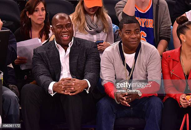 Magic Johnson and Tracy Morgan attend New York Knicks vs Los Angeles Lakers game at Madison Square Garden on November 8 2015 in New York City
