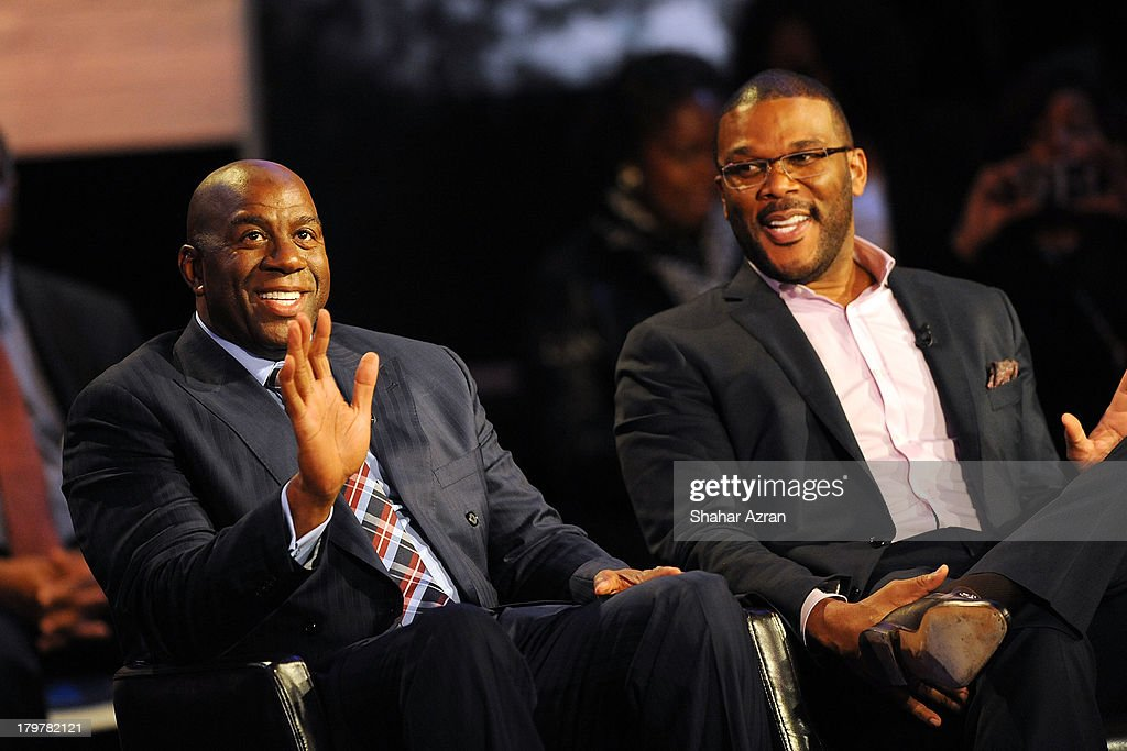 <a gi-track='captionPersonalityLinkClicked' href=/galleries/search?phrase=Magic+Johnson&family=editorial&specificpeople=157511 ng-click='$event.stopPropagation()'>Magic Johnson</a> and <a gi-track='captionPersonalityLinkClicked' href=/galleries/search?phrase=Tyler+Perry&family=editorial&specificpeople=678008 ng-click='$event.stopPropagation()'>Tyler Perry</a> attend 'Advancing The Dream: Live From The Apollo' Hosted By Reverend Al Sharpton at The Apollo Theater on September 6, 2013 in New York City.