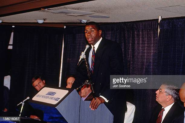 Magic Johnson announces his retirement at a press conference due to being diagnosed with the HIV virus on November 7 1991 at The Great Western Forum...