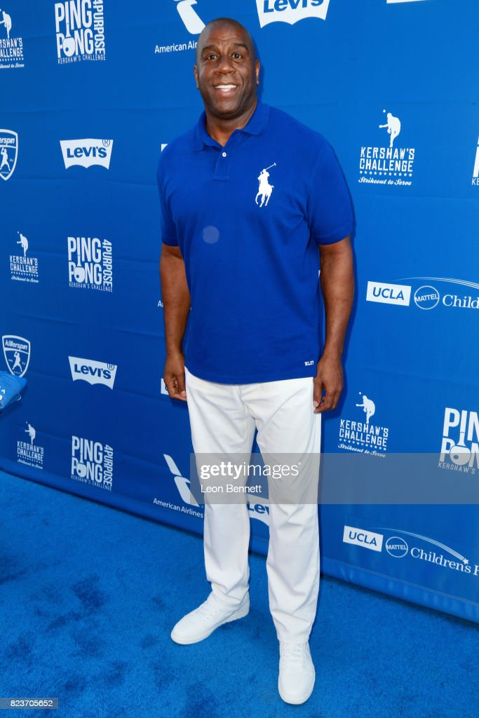 Magic Johnson at Clayton Kershaw's 5th Annual Ping Pong 4 Purpose Celebrity Tournament at Dodger Stadium on July 27, 2017 in Los Angeles, California.