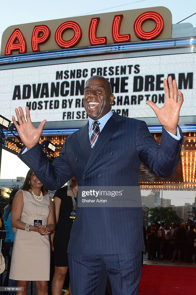 <a gi-track='captionPersonalityLinkClicked' href=/galleries/search?phrase=Magic+Johnson&family=editorial&specificpeople=157511 ng-click='$event.stopPropagation()'>Magic Johnson</a> attends 'Advancing The Dream: Live From The Apollo' Hosted By Reverend Al Sharpton at The Apollo Theater on September 6, 2013 in New York City.