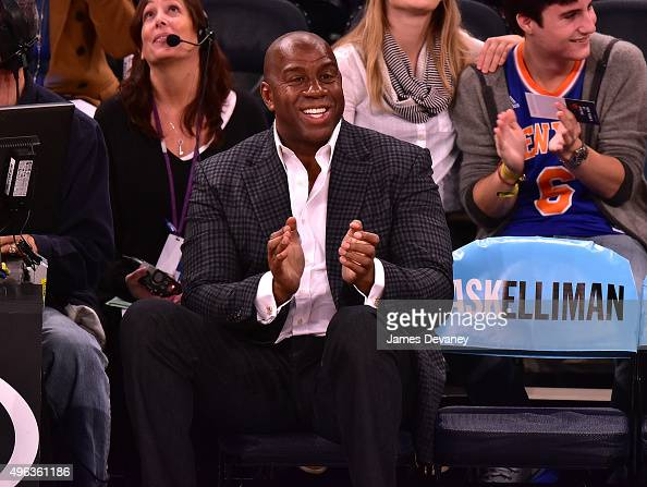 Magic Johnson attends New York Knicks vs Los Angeles Lakers game at Madison Square Garden on November 8 2015 in New York City