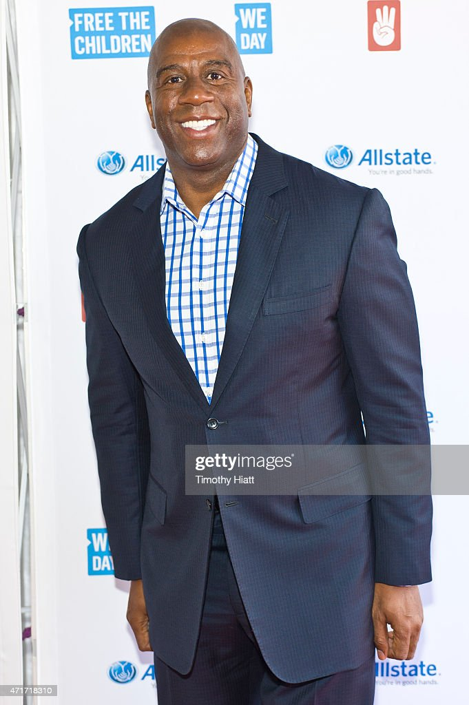 Magic Johnson attends We Day at Allstate Arena on April 30 2015 in Rosemont Illinois