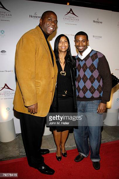 Magic Johnson Cookie Johnson and Andre Johnson attend the 10th Anniversary of Crustacean Restaurant Beverly Hills on January 26 2008 in Beverly Hills...