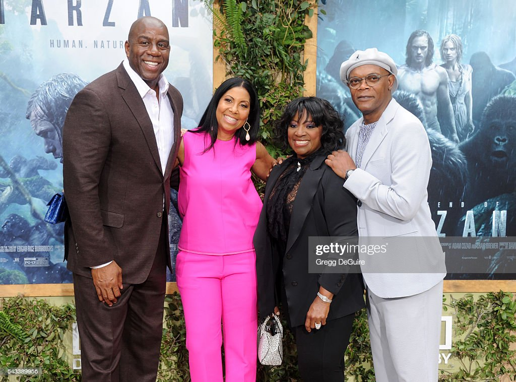 Magic Johnson, Cookie Johnson, Samuel L Jackson and wife LaTanya Richardson arrive at the premiere of Warner Bros. Pictures' 'The Legend Of Tarzan' at TCL Chinese Theatre on June 27, 2016 in Hollywood, California.
