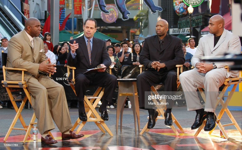 <a gi-track='captionPersonalityLinkClicked' href=/galleries/search?phrase=Magic+Johnson&family=editorial&specificpeople=157511 ng-click='$event.stopPropagation()'>Magic Johnson</a>, Ernie Johnson, <a gi-track='captionPersonalityLinkClicked' href=/galleries/search?phrase=Kenny+Smith&family=editorial&specificpeople=221585 ng-click='$event.stopPropagation()'>Kenny Smith</a> and <a gi-track='captionPersonalityLinkClicked' href=/galleries/search?phrase=Charles+Barkley&family=editorial&specificpeople=202484 ng-click='$event.stopPropagation()'>Charles Barkley</a> during live taping of TNT's 'Inside The NBA' at City Walk