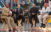 Magic Johnson Ernie Johnson Kenny Smith and Charles Barkley during live taping of TNT's 'Inside The NBA' at City Walk