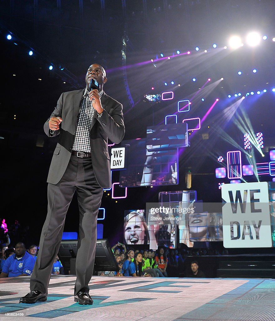 <a gi-track='captionPersonalityLinkClicked' href=/galleries/search?phrase=Magic+Johnson&family=editorial&specificpeople=157511 ng-click='$event.stopPropagation()'>Magic Johnson</a> in Oakland, CA speaks about youth empowerment to 16,000 students and educators at the first We Day California at ORACLE Arena on March 26, 2014 in Oakland, California.