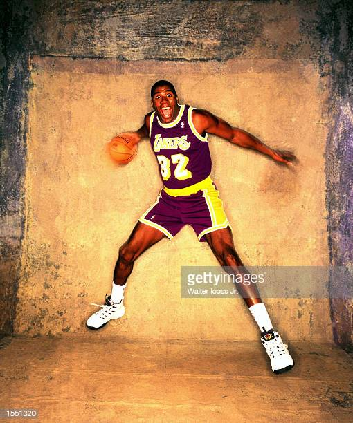 Magic Johnson of the Los Angeles Lakers poses for a portrait in Los Angeles California NOTE TO USER User expressly acknowledges and agrees that by...