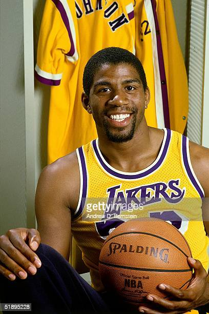 Magic Johnson of the Los Angeles Lakers poses for a portrait in the Lakers locker room at the Forum in Los Angeles California NOTE TO USER User...