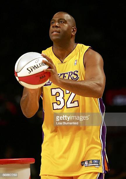 Magic Johnson of the Los Angeles team gets ready to shoot in the Radio Shack Shooting Stars competition during NBA AllStar Weekend at the Toyota...