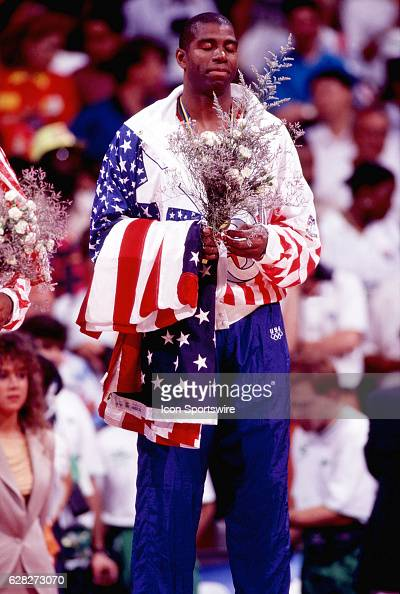 Magic Johnson of the USA Dream Team wins the men's basketball gold medal at the 1992 Summer Olympics in Barcelona Spain