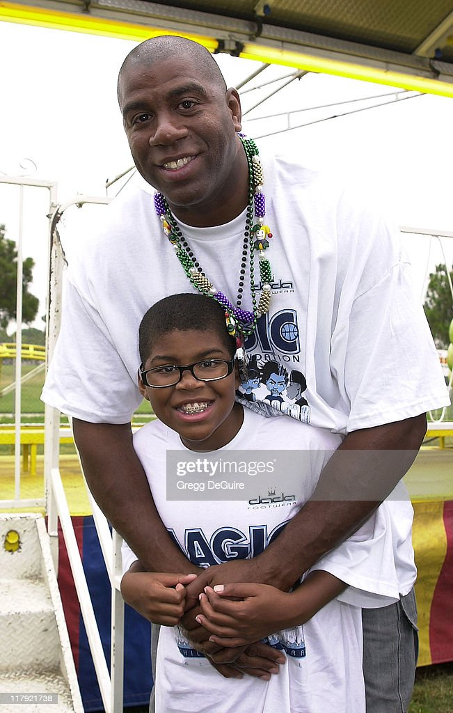Magic Johnson son EJ during Magic Johnson Foundation's 4th Annual Children's Mardi Gras at Earvin 'Magic' Johnson Recreation Center in Los Angeles...