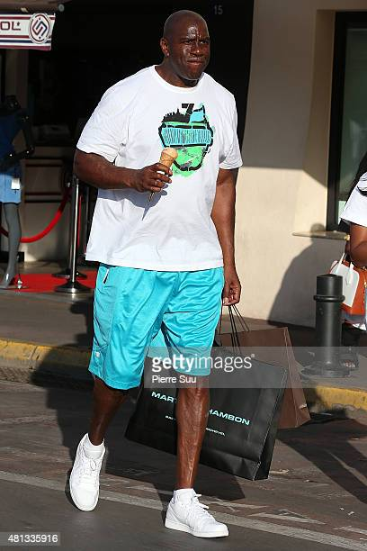 Magic Johnson strolling on July 19 2015 in SaintTropez France