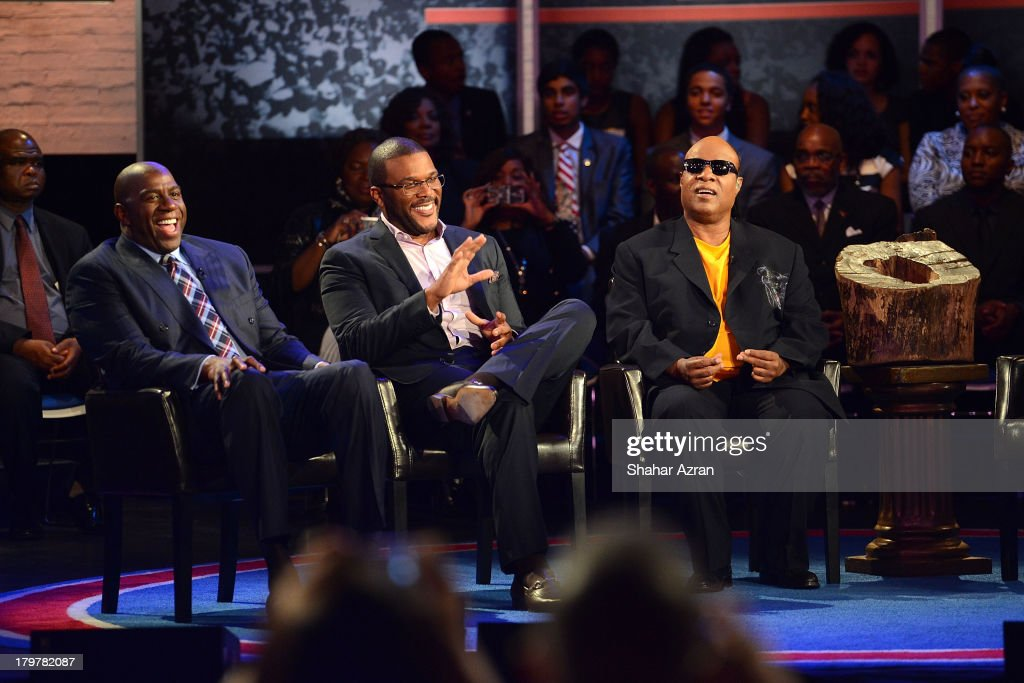 Magic Johnson, Tyler Perry and Stevie Wonder attend 'Advancing The Dream: Live From The Apollo' Hosted By Reverend Al Sharpton at The Apollo Theater on September 6, 2013 in New York City.