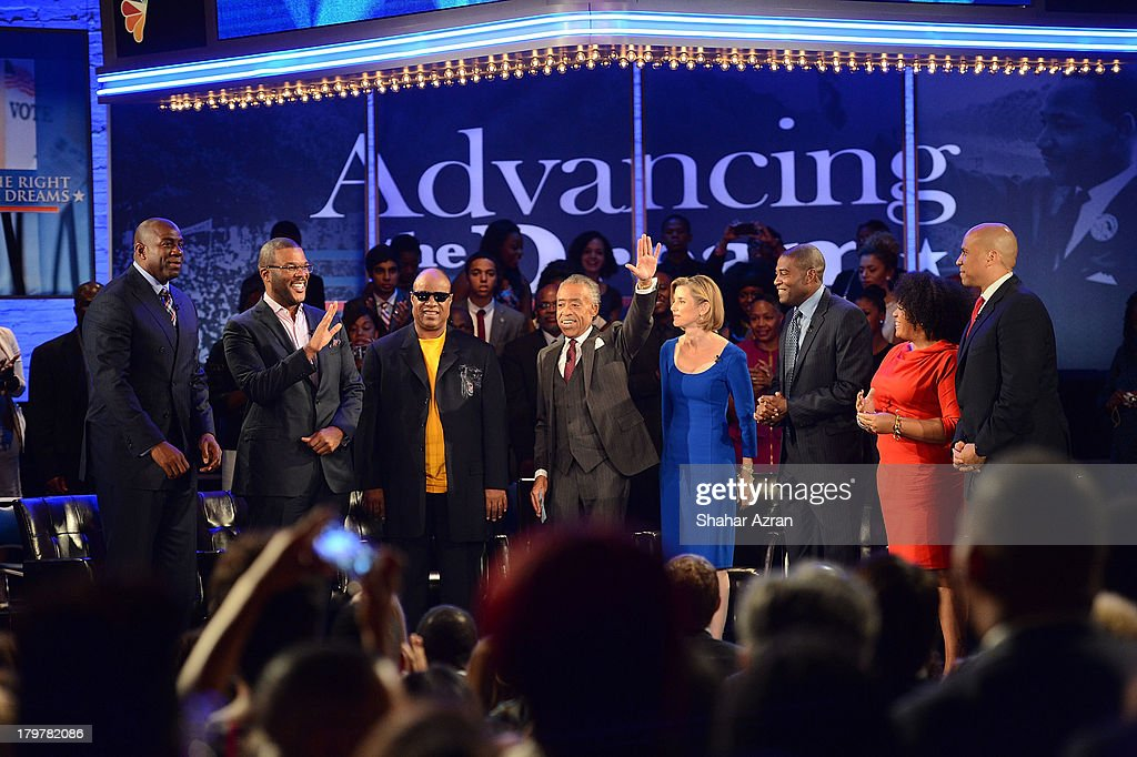 Magic Johnson, Tyler Perry, Stevie Wonder, Rev. Al Sharpton, Sallie Krawcheck, Ryan Blaylock, Lisa Price and Cory Booker attend 'Advancing The Dream: Live From The Apollo' Hosted By Reverend Al Sharpton at The Apollo Theater on September 6, 2013 in New York City.