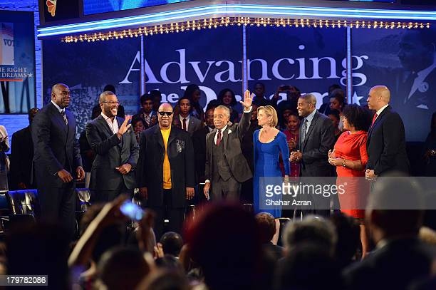 Magic Johnson Tyler Perry Stevie Wonder Rev Al Sharpton Sallie Krawcheck Ryan Blaylock Lisa Price and Cory Booker attend 'Advancing The Dream Live...