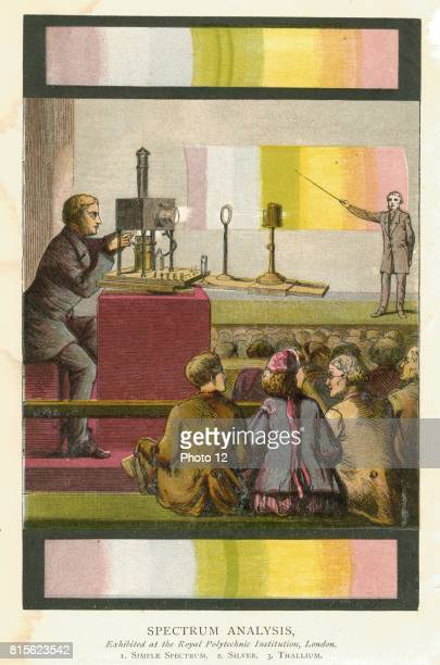 Magic lantern being used to project slides during a lecture on spectrum analysis at the Royal Polytechnic Institution London From John Henry Pepper...