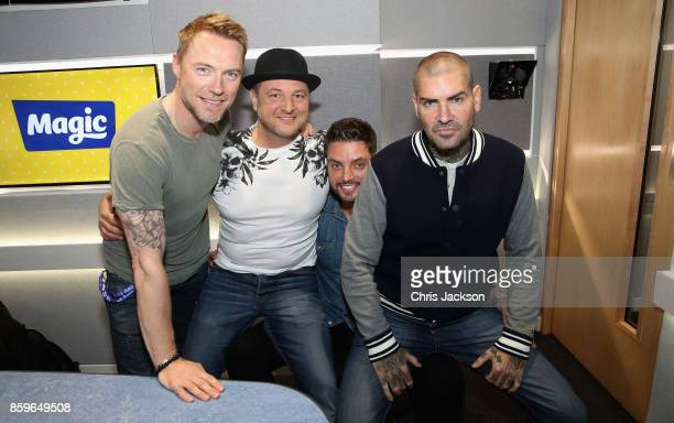 Magic Radio Breakfast presenter Ronan Keating poses with Keith Duffy Mikey Graham and Shane Lynch on October 10 2017 in London England Boyzone are...