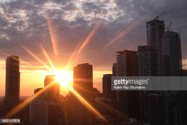 Magic Sunrays Dancing on the Cityscapes