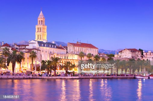 Magical Cityscape of old town Split, Croatia at Dusk