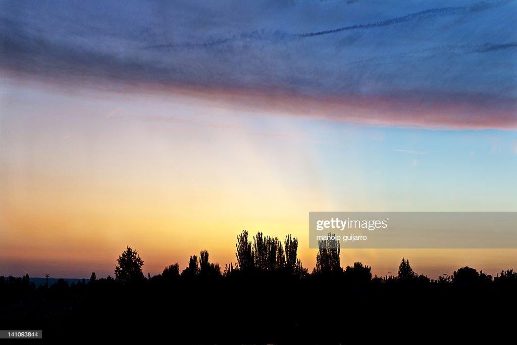 Magical dawn in Madrid : Stock Photo