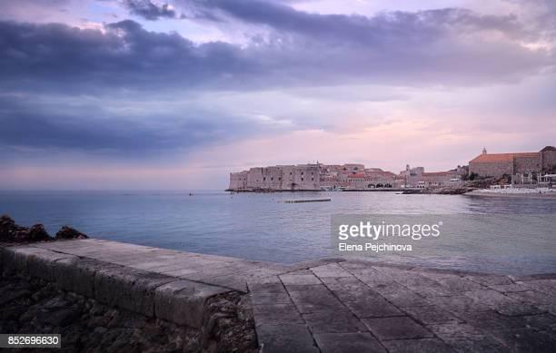 Magical dusk over Dubrovnik walls
