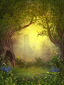 3D rendering of a magical fairy forest opening with a castle in the background.