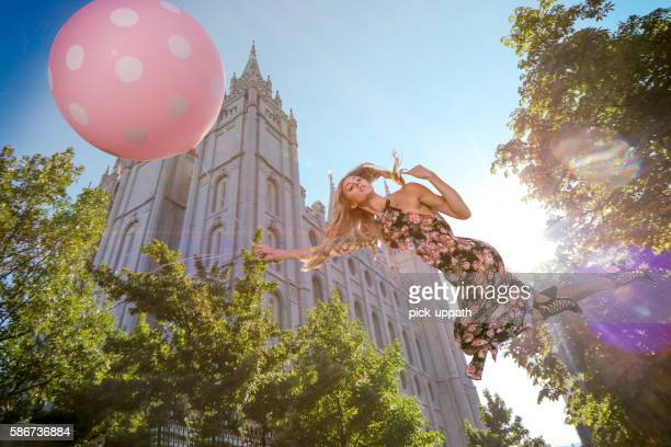 Magical floating woman floating near LDS template