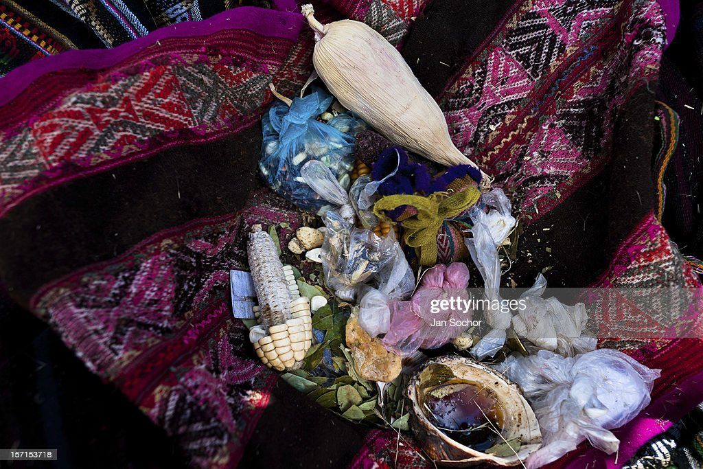 Magical objects belonging to an indigenous shaman viewed during the Yawar Fiesta, a ritual fight between the condor and the bull, held in the mountains of Apurímac on 28 July 2012 in Cotabambas, Peru. The Yawar Fiesta (Feast of Blood), an indigenous tradition which dates back to the time of the conquest, consists basically of an extraordinary bullfight in which three protagonists take part - a wild condor, a wild bull and brave young men of the neighboring communities. The captured condor, a sacred bird venerated by the Indians, is tied in the back of the bull which is carefully selected for its strength and pugnacity. A condor symbolizes the native inhabitants of the Andes, while a bull symbolically represents the Spanish invaders. Young boys, chasing the fighting animals, wish to show their courage in front of the community. However, the Indians usually do not allow the animals to fight for a long time because death or harm of the condor is interpreted as a sign of misfortune to the community.