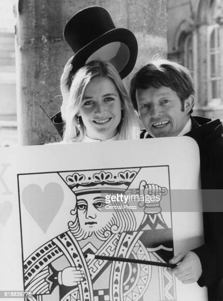 TV magician and occasional DJ Paul Daniels with actress Caroline Langrishe promoting BBC Radio's winter season UK 23rd August 1981
