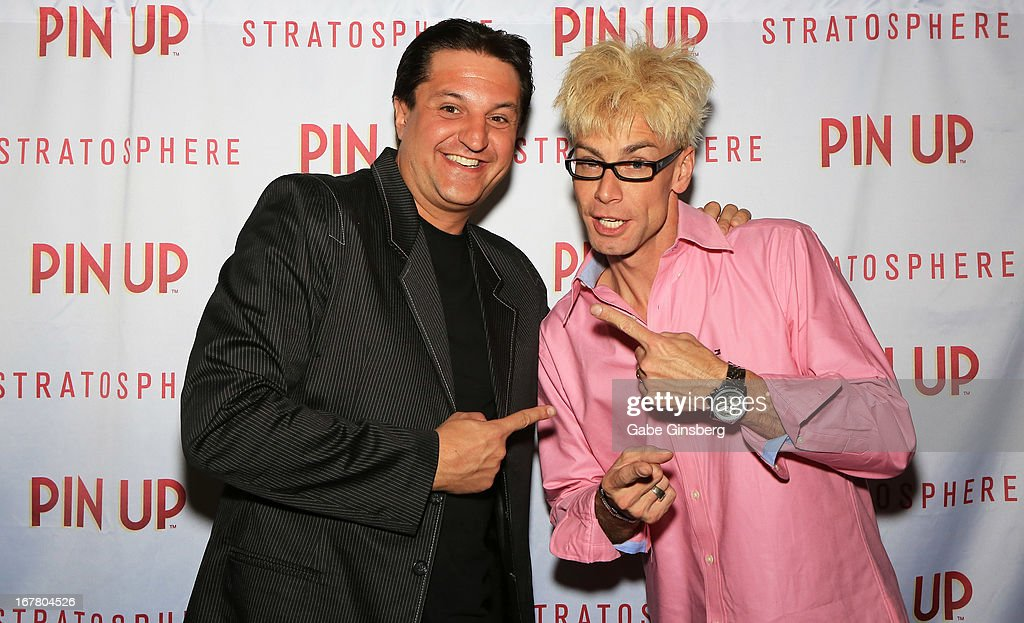 Magician Douglas 'Lefty' Leferovich (L) and magician/comedian Murray SawChuck arrive at the premiere of 'Pin Up' at the Stratosphere Casino and Hotel on April 29, 2013 in Las Vegas, Nevada.