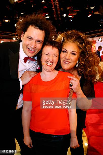 Magician Eric Antoine Humorist Anne Roumanoff and Singer Marianne James attend the 'Vivement Dimanche' French TV Show at Pavillon Gabriel on May 13...