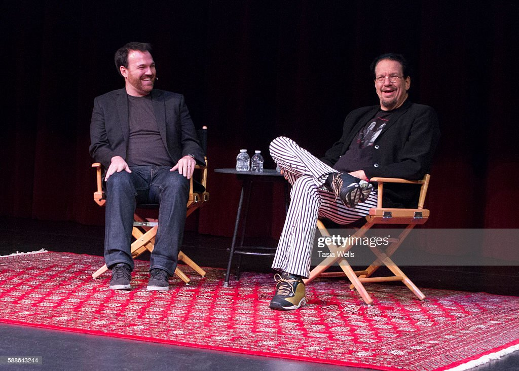 Magician Penn Jillette speaks onstage at Moss Theatre at New Roads School on August 11 2016 in Santa Monica California