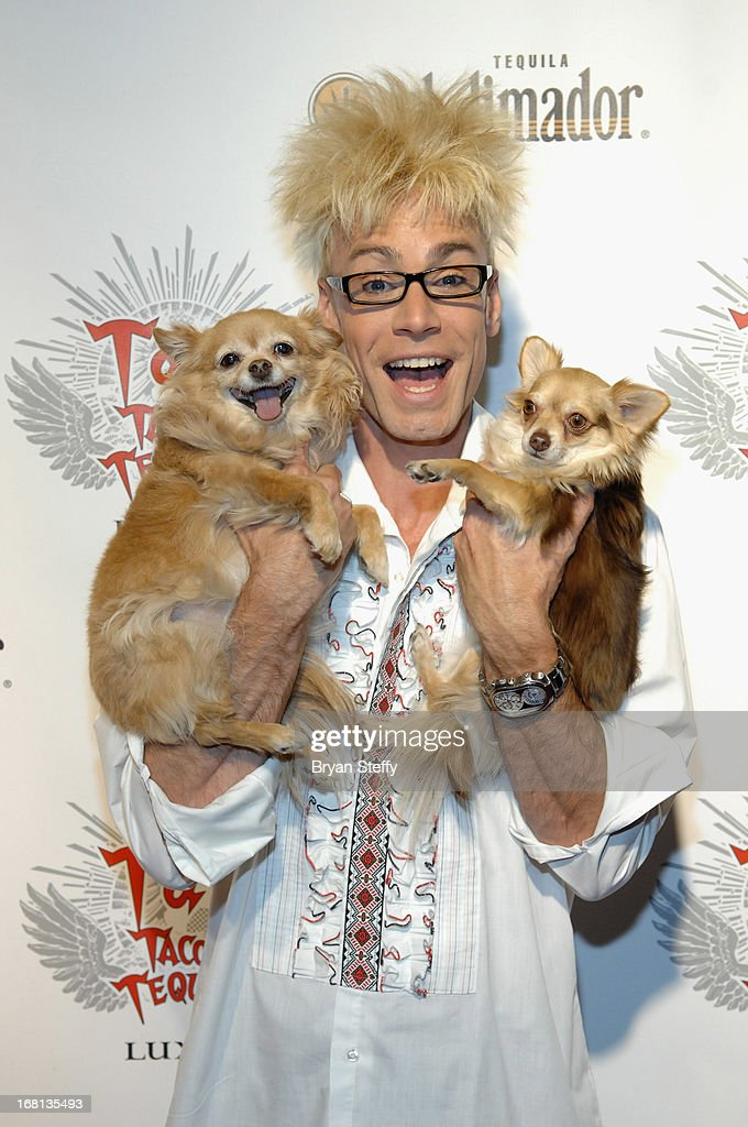 Magician/comedian Murray SawChuck and dogs Ella (L) and Kahlua arrive at Tacos & Tequila's Cinco de Mayo celebration at the Luxor Resort & Casino on May 5, 2013 in Las Vegas, Nevada.