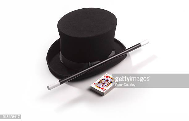 Magician's hat, wand and cards