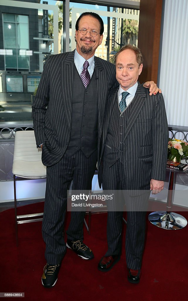 Magicians Penn Jillette and Teller of Penn Teller visit Hollywood Today Live at W Hollywood on August 12 2016 in Hollywood California